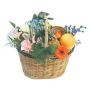 Корзина фрукты и цветы №1