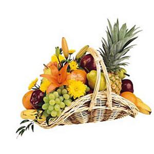Корзина фрукты и цветы №3