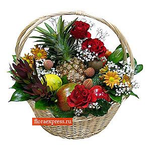 Корзина фрукты и цветы №5