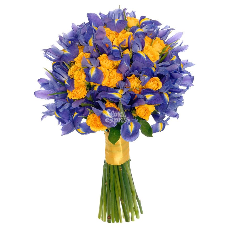 букеты из ирисов с тюльпанами фото