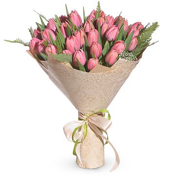 Букет Розовые тюльпаны