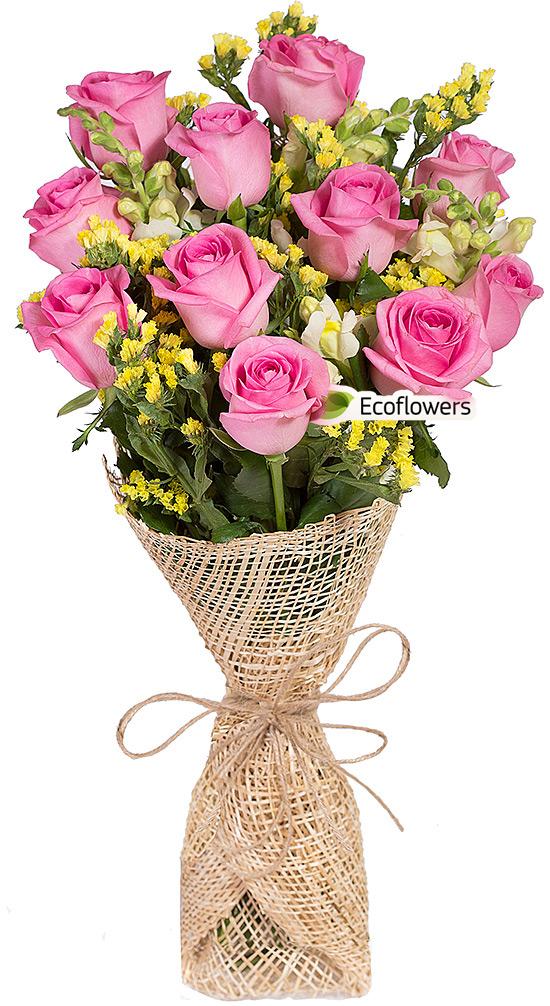 Фото букета: Розы и антирринум