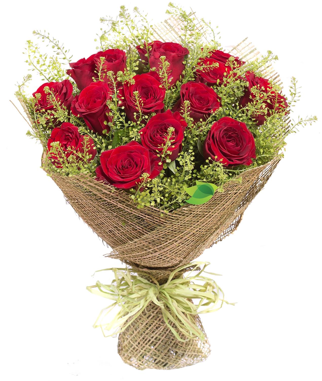 Фото букета: Розы и грин белл