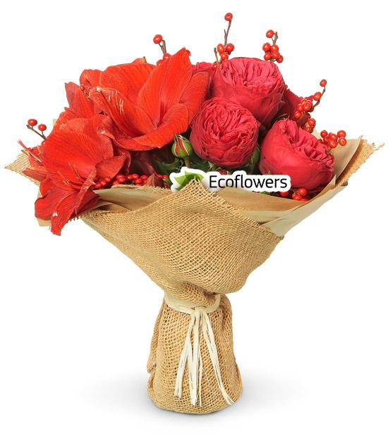 Фото букета: Амариллис и пионовидная роза