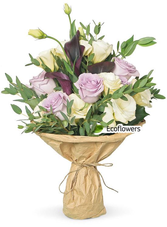 Фото букета: Розы и каллы
