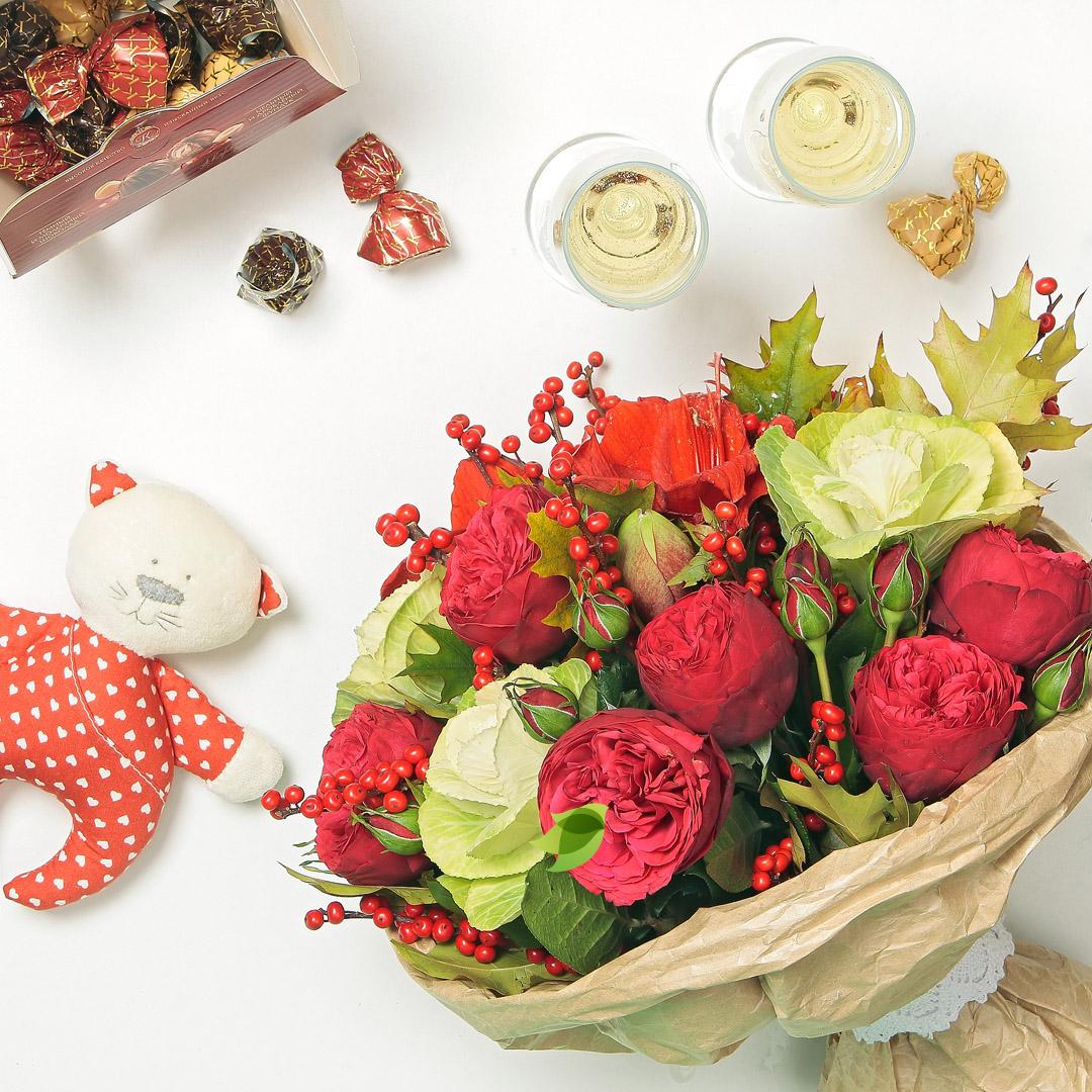 Фото букета: Пионовидные розы и амариллис