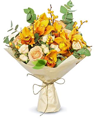 Фото букета: Букет из роз и орхидей