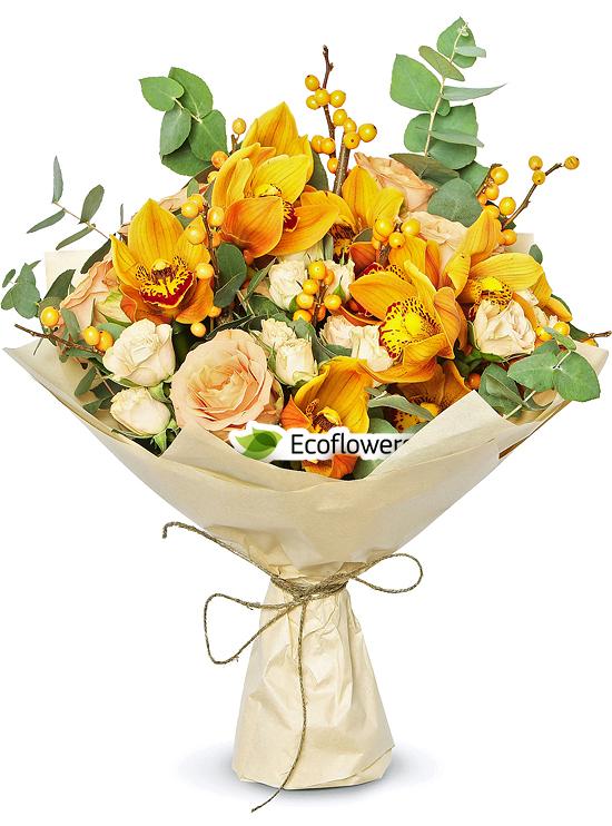 Фото букета: Розы и орхидеи