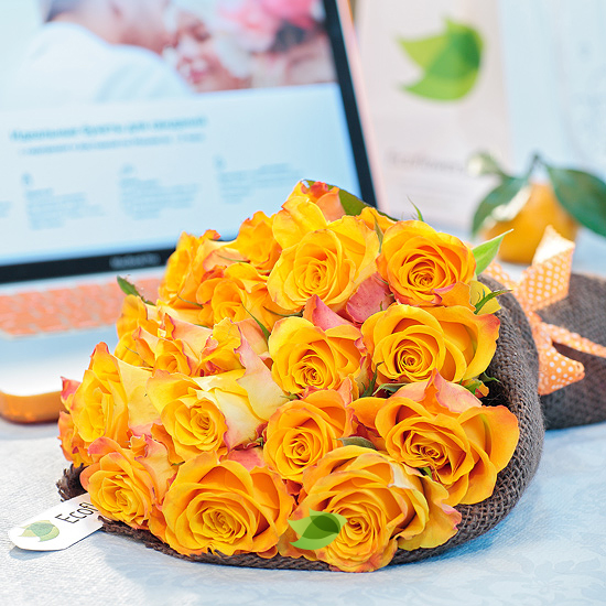 Фото букета: Огненные розы
