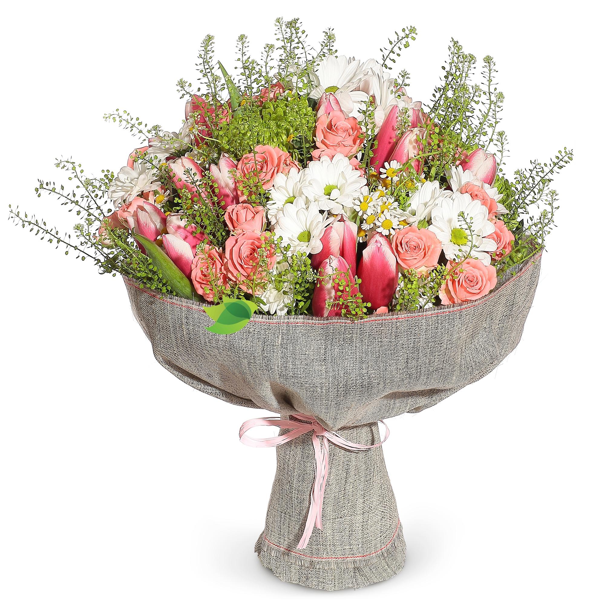 Фото букета: Тюльпаны и хризантемы