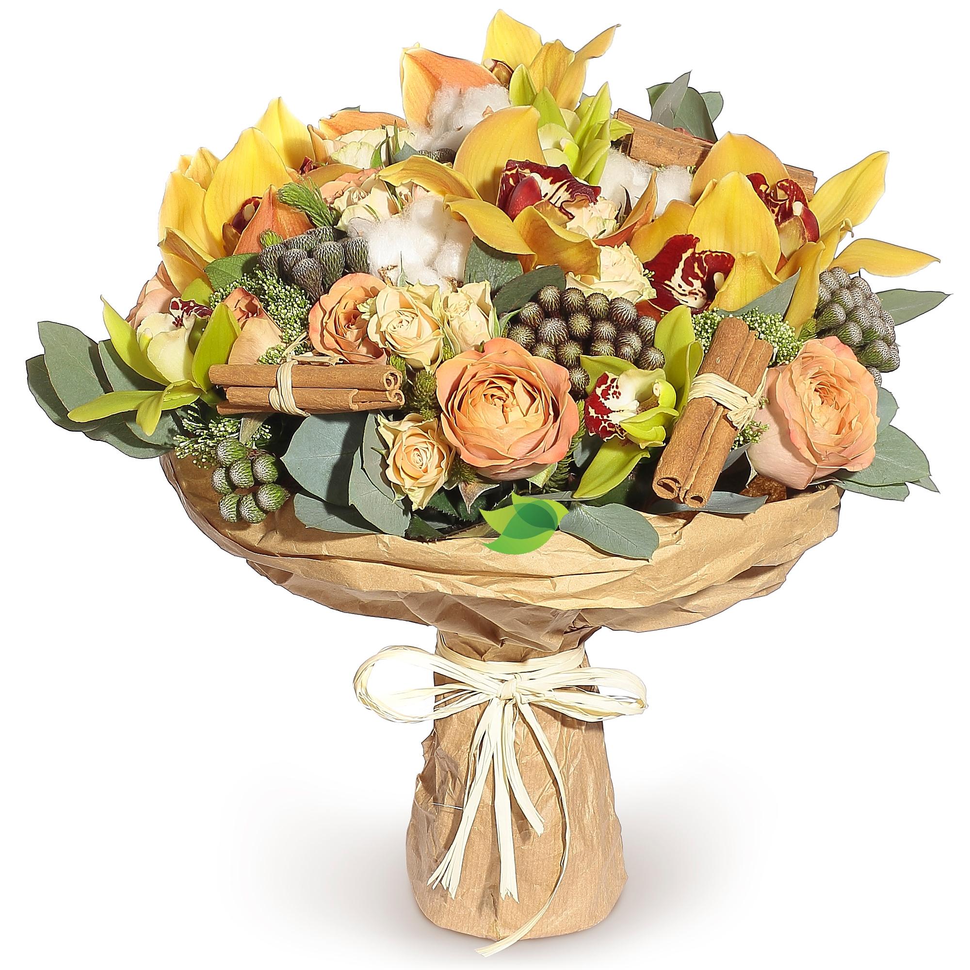 Фото букета: Орхидеи и розы капучино