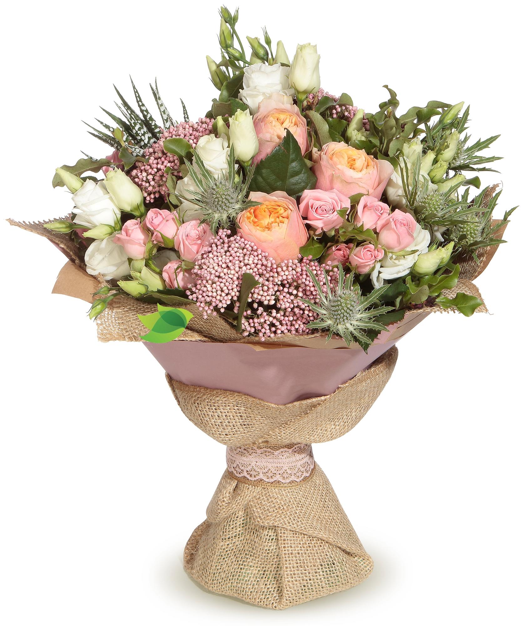 Фото букета: Пионовидные розы и лизиантус