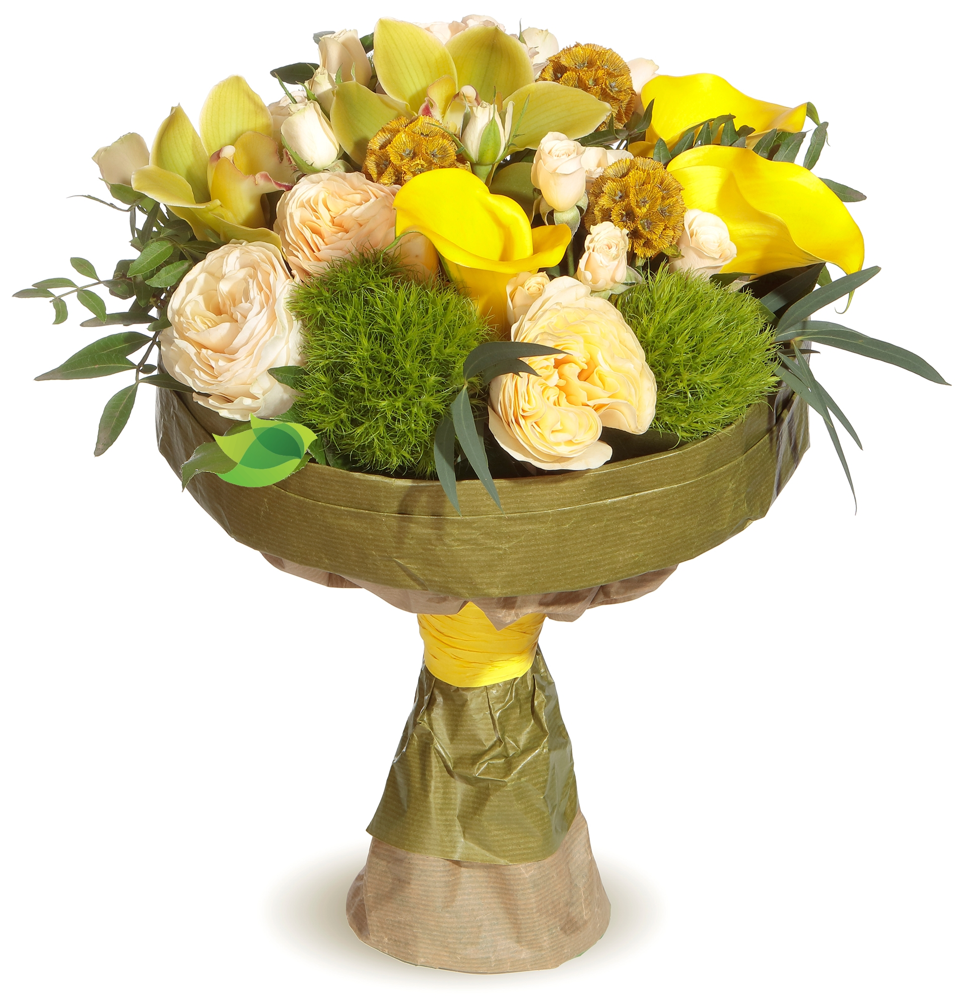Фото букета: Пионовидные розы и каллы