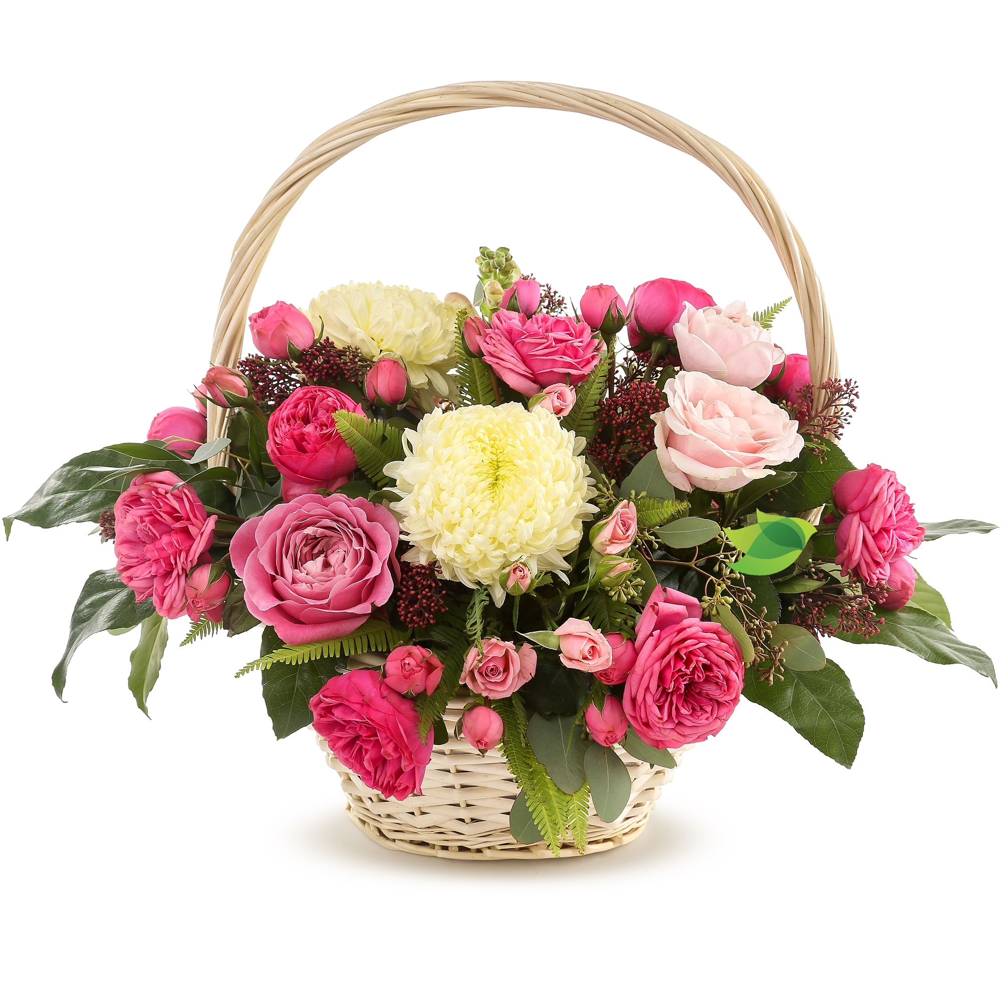 Фото букета: Корзина с розами и хризантемами