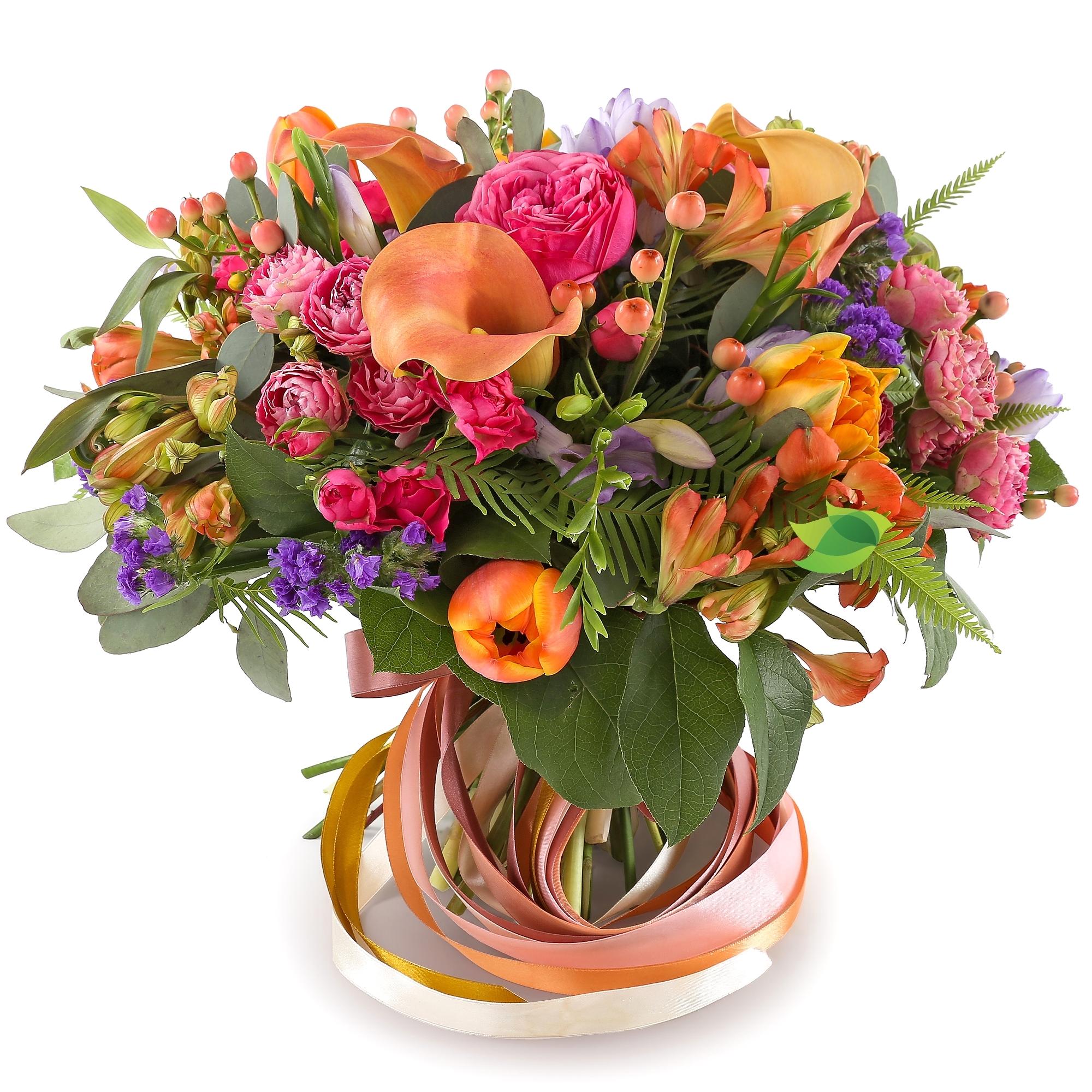 Фото букета: Каллы и пионовидные розы