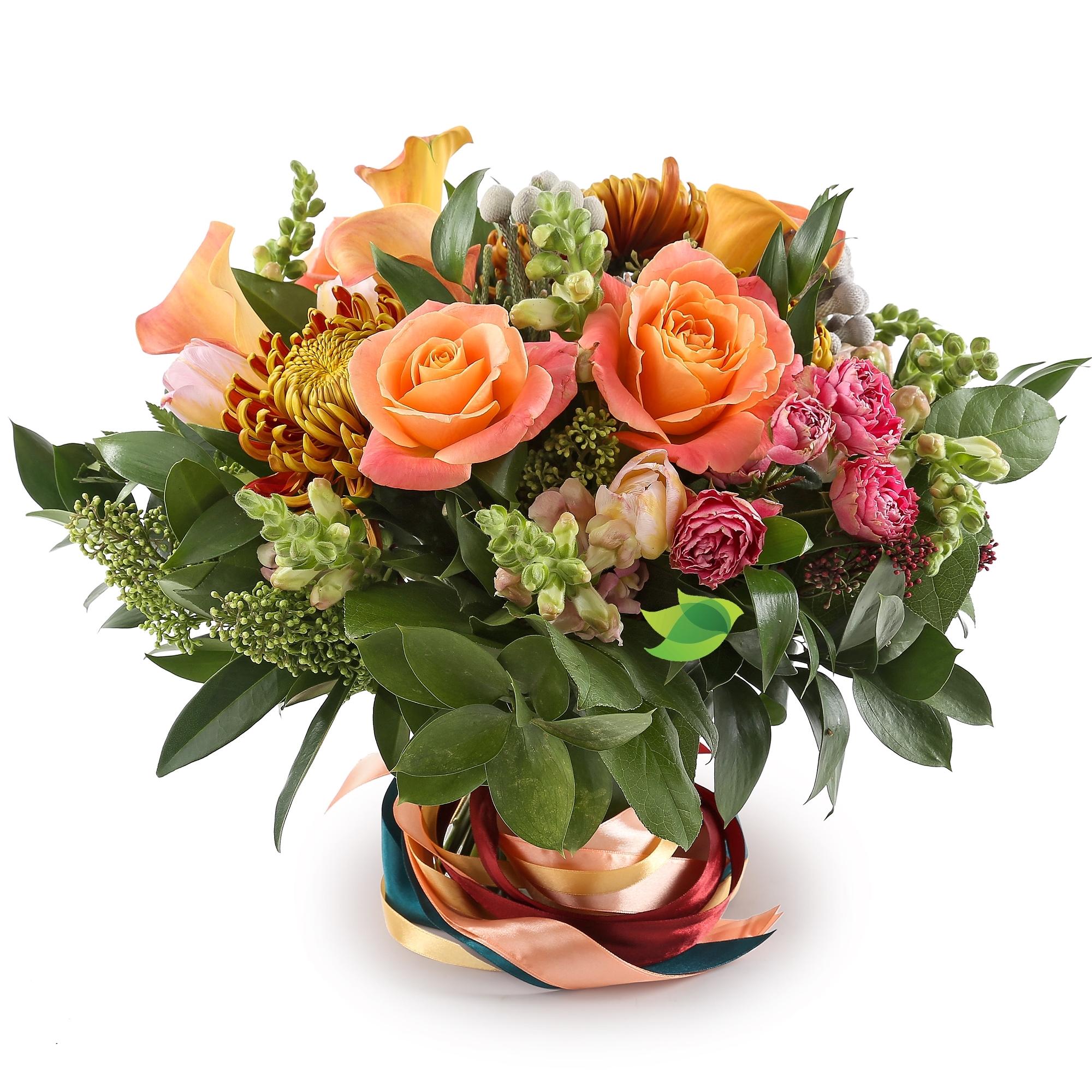 Фото букета: Хризантемы и розы
