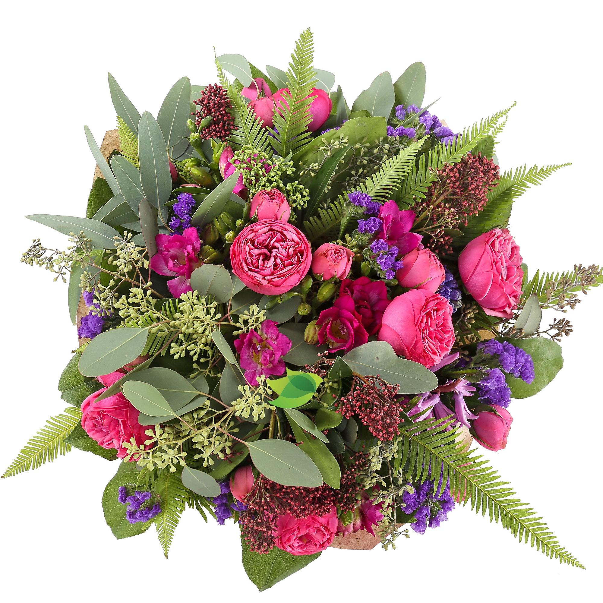 Фото букета: Пионовидные розы и статица