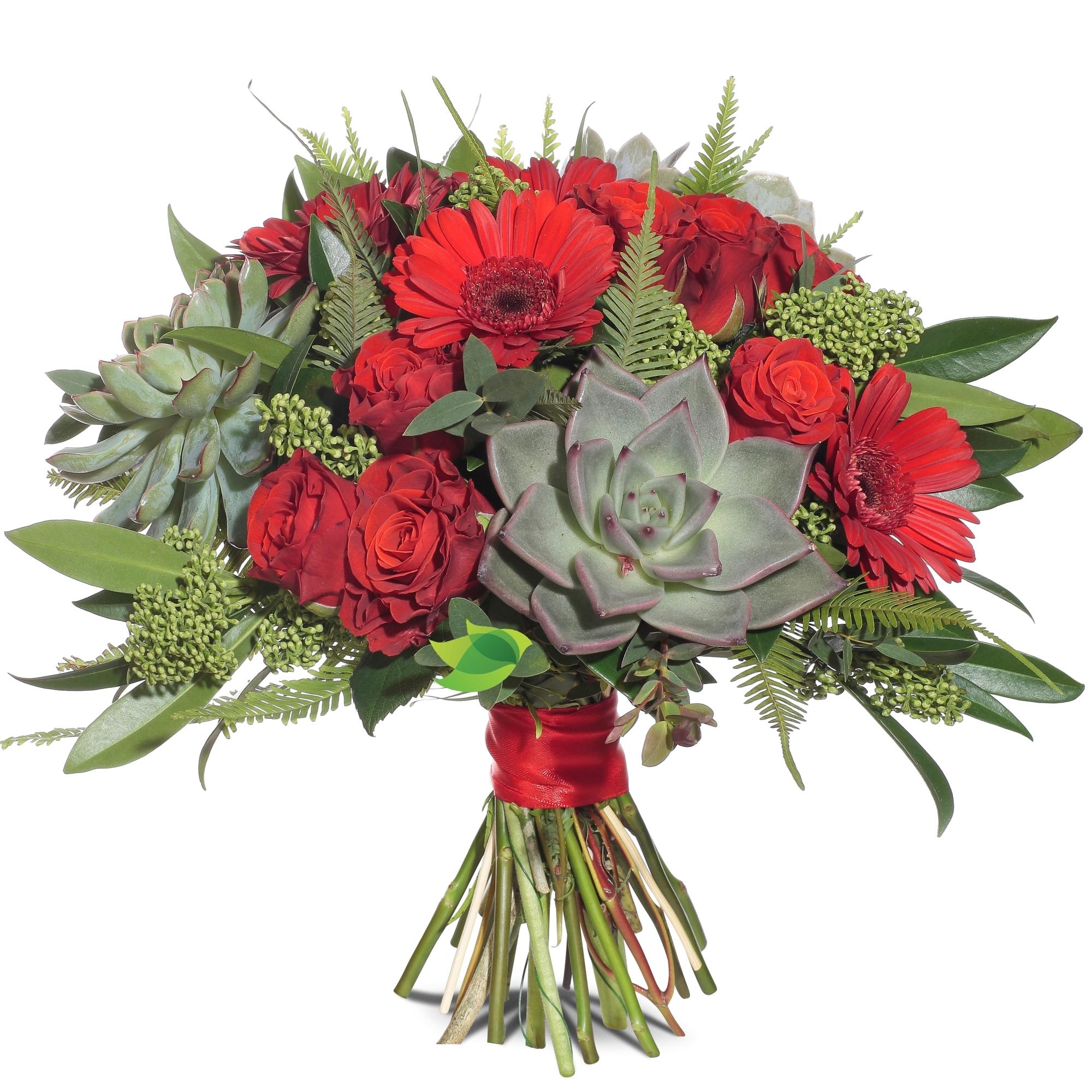 Фото букета: Суккулент и розы